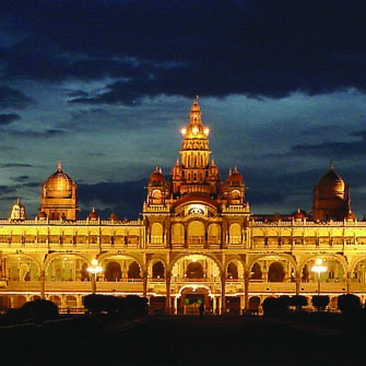 Mysore at palace at night